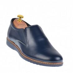 Pantofi barbati sport - casual din piele naturala, cu elastic - TENMARIOBLU