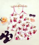 Cumpara ieftin Pijama dama ieftina primavara-vara alba din satin lucios cu imprimeu trandafir roz