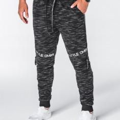 Pantaloni barbati negru slim cu banda model genunchi siret si buzunare P637