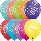 "Baloane latex 11""/28 cm inscriptionate Happy Birthday Confetti Dots, Asortate, Qualatex 52975, set 6 buc"