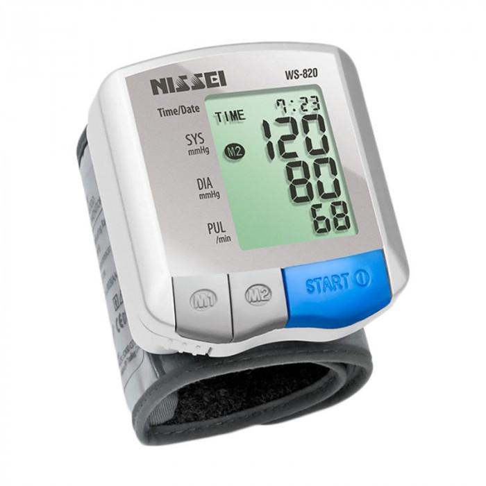 Tensiometru electronic de incheietura Nissei WS-820, afisaj LCD, memorare 2 x 60 de valori, Alb/Gri