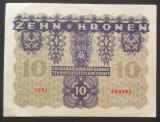 Bancnota ISTORICA 10 COROANE - AUSTRO-UNGARIA (AUSTRIA), anul 1922   *cod 02