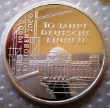 10.035 GERMANIA RFG 10 ANI ANIVERSARE REUNIFICARE 10 DEUTSCHE MARK 2000 G PROOF, Europa, Argint
