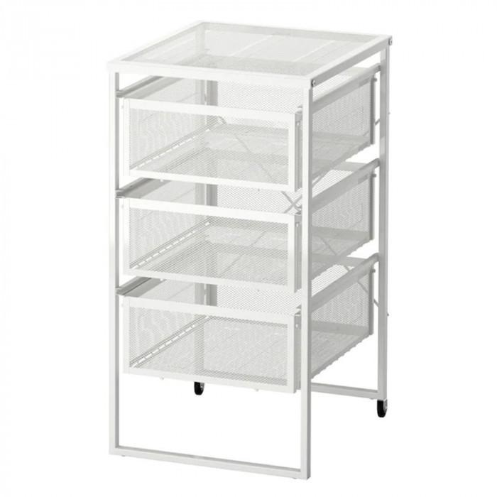Organizator birou cu roti, 30 x 34 x 56 cm, Argintiu