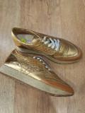 LICHIDARE STOC! Pantofi dama noi piele naturala auriu foarte comozi superbi 39