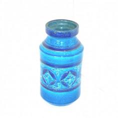 Vaza ceramica Rimini blue hand made, anii 50 - design Aldo Londi, Bitossi Italia