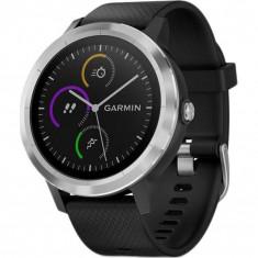 Smartwatch Garmin Vivoactive 3 GPS Silver curea Silicone Black