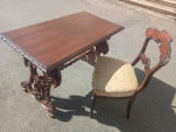 Elegant birou si scaun stil din lemn masiv
