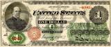1 dolar 1862 Reproducere Bancnota USD , Dimensiune reala 1:1