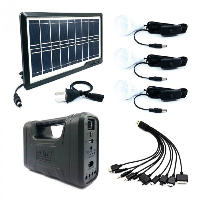 Kit solar portabil Gdliting GD-8017 Plus, USB, 3 becuri, lanterna LED