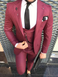 Costum barbati 3 piese slim model 2017 Ultima creatie !, 1 nasture, Normal, Visiniu