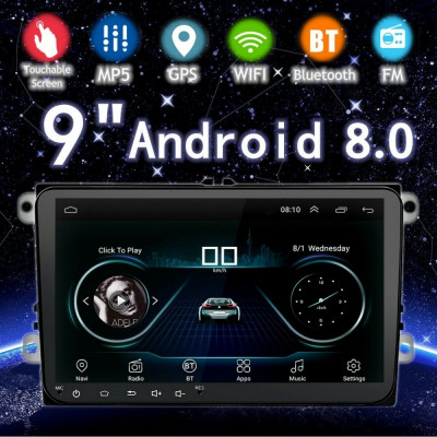 Mp5 Player GPS Auto Volkswagen Skoda Seat 8 Inch, Android 8.1 WiFI foto