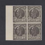 ROMANIA 1885 CAROL I VULTURI 15 BANI BL 4 ESEU MNH