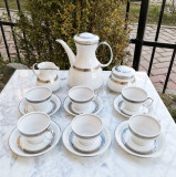 Serviciu de cafea din portelan fin Santa Clara, alcatuit din 15 piese, cu argint coloidal, Spania.
