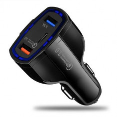 Incarcator Auto Huawei P9 Lite Dual USB Si USB Tip C Negru foto