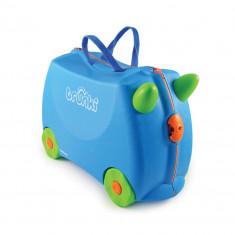 Valiza pentru copii Ride-On Terrance Trunki, Albastru, 46 cm