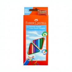Creioane colorate 12 culori triunghiulare Faber Castell 120523 + o ascutitoare 120523