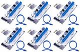 Riser PCI iUni V008S, Set 6 buc, PCI-E 1X - 16X, cablu 6 pini, USB 3.0, mining BTC, ETH