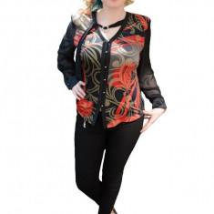 Bluza de ocazie cu nasturi in fata, culoare neagra cu model rosu