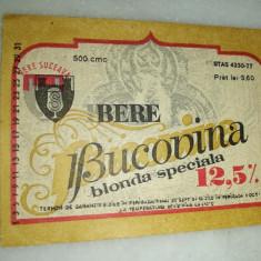 Eticheta bere Romania - BUCOVINA  Suceava  !