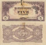 1942, 5 dollars (P-M6a) - Malaya (guvernul Japonez)