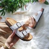 Papuci Adena argintii cu alb -rl