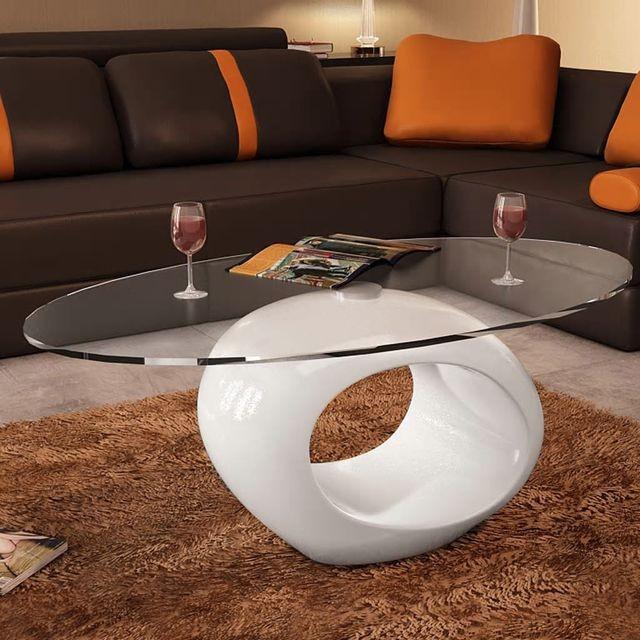 Măsuță de cafea cu blat oval din sticlă, alb lucios