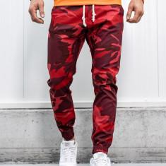 Pantaloni joggers bărbați camuflaj-roșu Bolf 0367