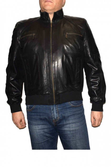 Haina barbati, din piele naturala, marca Kurban, 301-01-95-1, negru , marime: