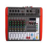 Mixer profesional amplificat Vlliodor, 6 canale, 600 W, bluetooth