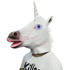 Masca amuzanta cap de unicorn, din latex, alb