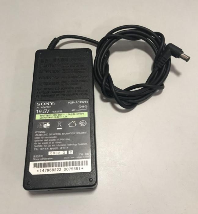 Incarcator original laptop Sony Vaio second hand model VGP-AC19V14 mufa rotunda pin central 19.5V - 4.7A - 90W