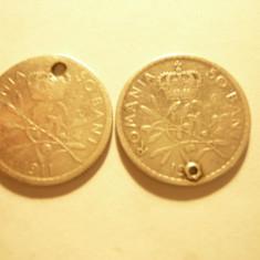 2 Monede 50 Bani 1911 Carol I argint , gaurite ,pt. medalion