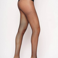 Dres dama negru tip plasa din material elastic cu un calcai curbat