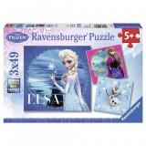Puzzle Frozen Elsa, Anna si Olaf, 3x49 piese Ravensburger