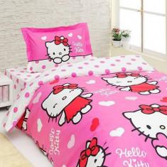 Lenjerie de pat pentru copii Disney Hello Kitty Miss Love, bumbac 100%, 3 piese, Oem