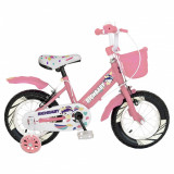Bicicleta fete Rich Baby R1408A 14 inch C-Brake cu cosulet si roti ajutatoare cu led 3-5 ani rozalb
