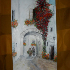 In vechiul oras 3-pictura ulei pe placaj;Macedon Luiza, Natura, Altul