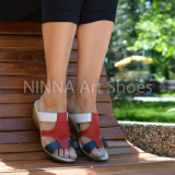 Sandale dama bleumarin - rosu - alb din piele naturala - NA303COLOR