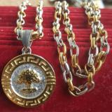 Lant +medalion  INOX placat