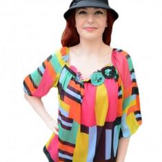 Bluza multicolora cu maneci trei-sferturi si insertii de elastic