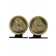 Lumini de zi, DRL, daylights, proiectoare cu led, 3 led, culoare argintie, set 2
