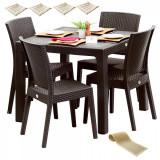 Mobilier exterior BLANZAC masa patrata CLASSI RATAN 90x90x75cm 4 scaune NICE polipropilen/fibra sticla culoare cafea,4 perne scaun,Traversa PANARI 40x