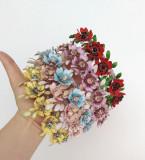 Diadema de flori, cu perle si cristale de sticla, multicolor NMCJ025