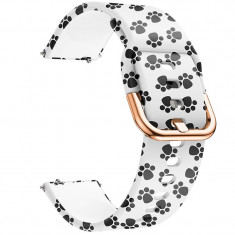 Curea din silicon, compatibila Samsung Galaxy Watch Active, telescoape Quick Release, 20mm, Little Paw