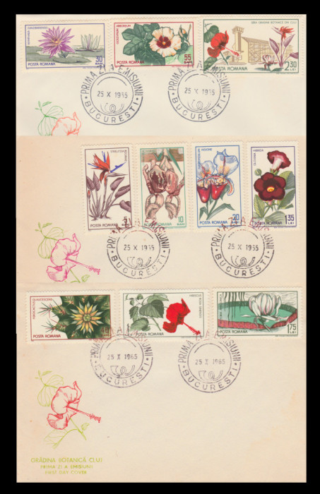 1965 Romania - 3 FDC Gradina Botanica din Cluj, LP 615