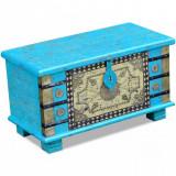 VidaXL Cufăr din lemn de mango, 80x40x45 cm, albastru