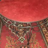 Masa rotunda vintage din fier forjat