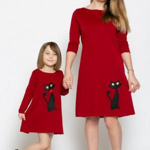 Set rochițe mama-fiica pisica din jerse KITTY by KIDissue