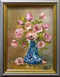 Tablou `Trandafiri roz în vas de sticlă`